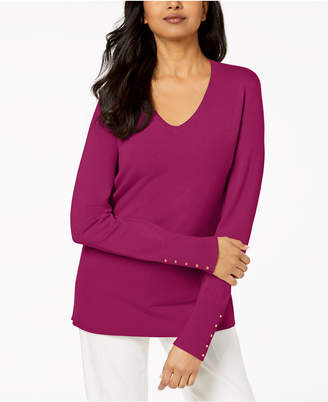 JM Collection Button-Sleeve Ribbed Sweater, Created for Macy's