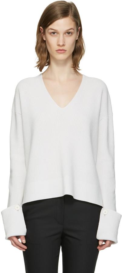 Helmut LangHelmut Lang Grey V-Neck Sweater