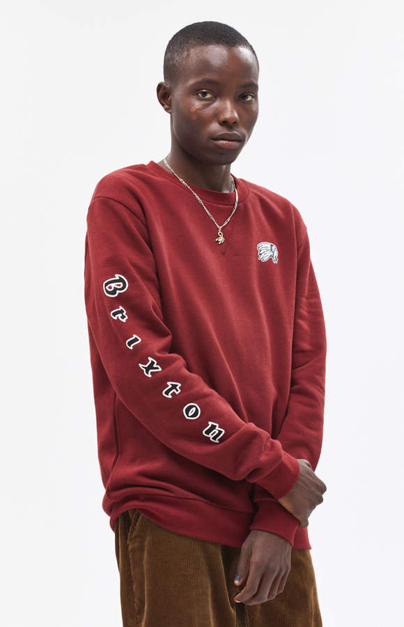 Brixton Primo Burgundy Crew Neck Sweatshirt