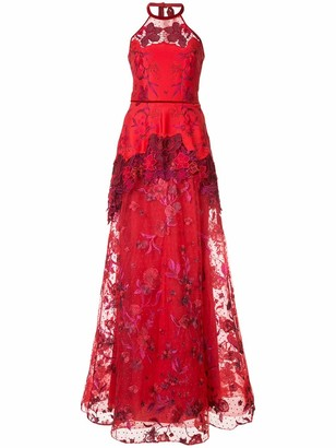 Marchesa high low lace dress