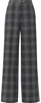 Acne Studios Checked Wool And Cotton-blend Wide-leg Pants - Dark gray
