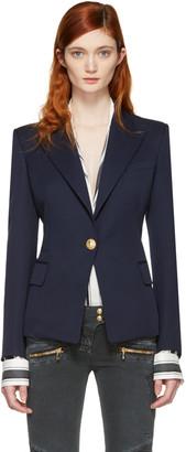 Balmain Navy Single Button Blazer $2,210 thestylecure.com