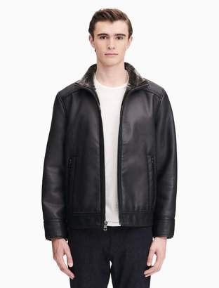 Calvin Klein faux leather lined zip jacket