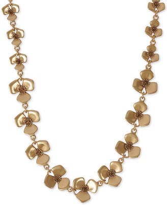 "Lucky Brand Crystal Flower Collar Necklace, 18"" + 2"" extender"