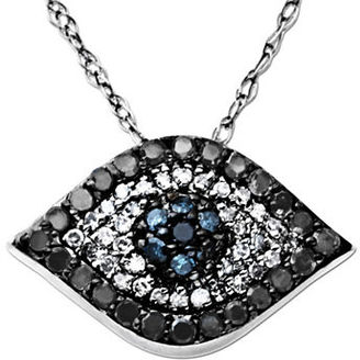 Lord & Taylor Diamond Evil Eye Pendant in 14 Kt. White Gold 0.33 ct. t.w. $950 thestylecure.com