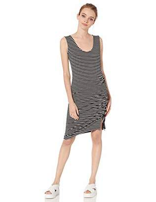 BB Dakota Junior's Leaving Port Stripe Rayon Spandex Dress with Ruched Sides
