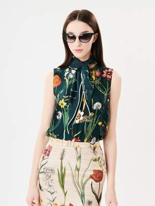 Oscar de la Renta Flower Harvest Silk-Twill Tie-Neck Blouse