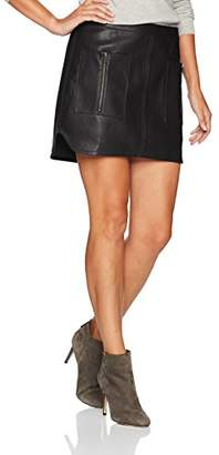 BCBGMAXAZRIA Women's Sabina Knit Faux Leather Skirt