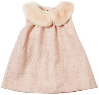 Chloé Wool & Lurex Dress W/ Faux Fur Collar