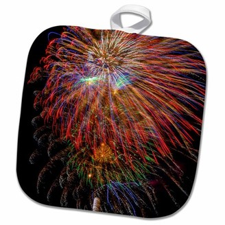 3dRose USA, Colorado, Frisco, Dillon Reservoir. Fireworks display, July 4th. - Pot Holder, 8 by 8-inch