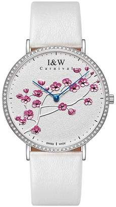 Carnival Women's Quartz Watch Extra Flat Case and Plum Pattern White Face Large