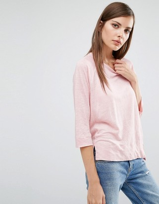 Whistles Alice Linen 3/4 Sleeve T Shirt $98 thestylecure.com