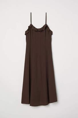 H&M Sleeveless Ruffle-trim Dress - Dark orange - Women