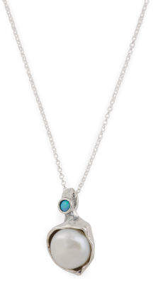 Made In Israel Sterling Silver Baroque Pearl And Opal Necklace
