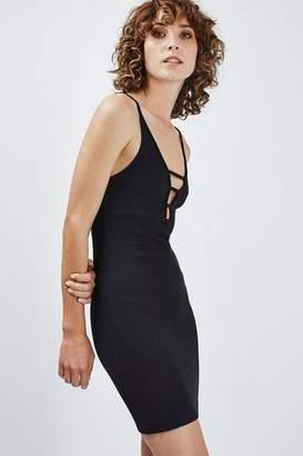 Topshop Ribbed T-Bar Strap Bodycon Dress