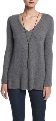 Neiman Marcus Cashmere V-Neck Pullover w/ Chain Necklace
