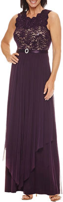 R & M Richards Sleeveless Belted Evening Gown $120 thestylecure.com