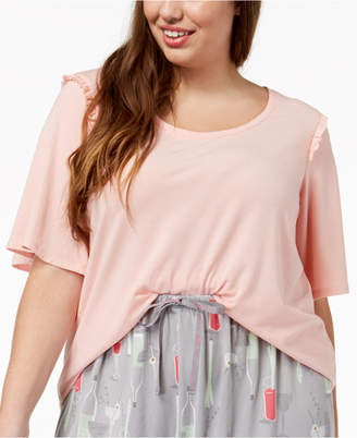 Hue Plus Size Bell Ruffled-Sleeve Sleep Top