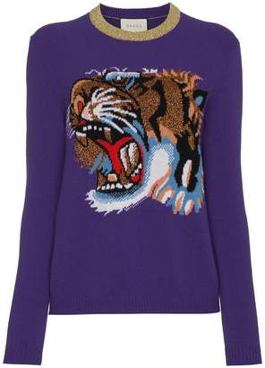 Gucci Wool jumper with knitted tiger motif