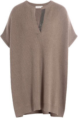 Brunello Cucinelli Cashmere Poncho Top with Embellishment