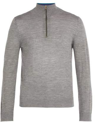 Paul Smith Half Zip Wool Sweater - Mens - Light Grey