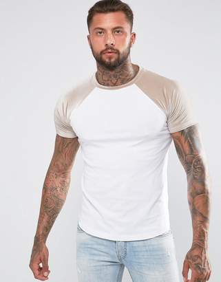 Asos DESIGN T-Shirt With Mini Curved Hem And Contrast Velour Raglan Sleeves In Taupe