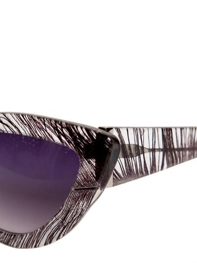 Charlotte Olympia Cat Eye Feather Print Acetate Sunglasses