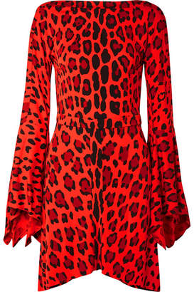 Tom Ford Open-back Leopard-print Jersey Mini Dress - Red