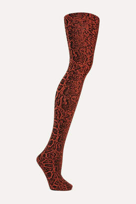Wolford Blotched Snake 80 Denier Tights - Red