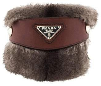 Prada Fur & Leather Buckle Bracelet