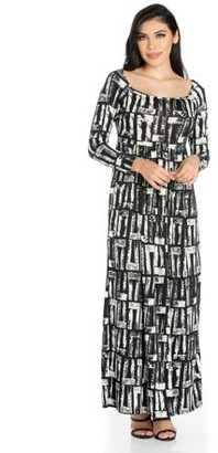 24/7 Comfort Apparel 24seven Comfort Apparel Alluring Black and White Long Sleeve Maxi Dress