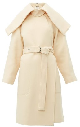 Chloé Iconic Shawl Lapel Belted Wool Blend Coat - Womens - Cream