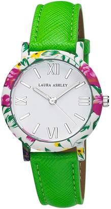 Laura Ashley Ladies Green Band Floral Bezel Watch La31003Gr