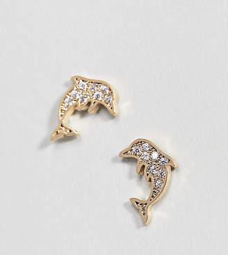 Orelia Gold Plated Crystal Dolphin Stud Earrings