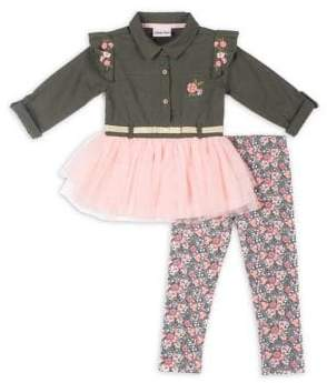Little Lass Little Girl's Two-Piece Floral Top and Leggings Set