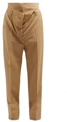 Burberry Double Waist Mohair Blend Poplin Trousers - Womens - Beige