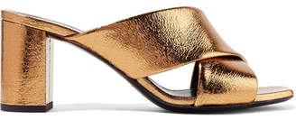 Saint Laurent Loulou Metallic Cracked-leather Mules - Bronze