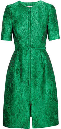 Oscar de la Renta - Belted Silk-jacquard Dress - Emerald $2,990 thestylecure.com