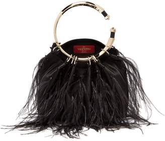 Valentino Bebop ostrich feather satin clutch
