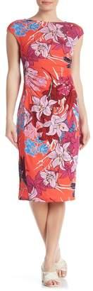 Spense Floral Ruched Sheath Midi Dress
