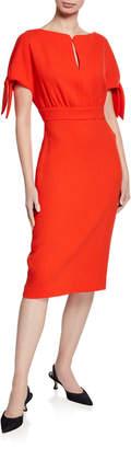 Lela Rose Bow Tie Cuff Boat-Neck Sheath Dress