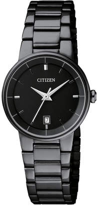 Citizen Women's Quartz Black Ion-Plated Stainless Steel Bracelet Watch 27mm EU6017-54E