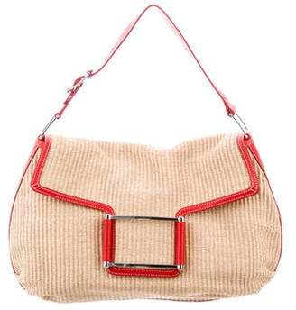 Lambertson Truex Leather-Trimmed Straw Shoulder Bag