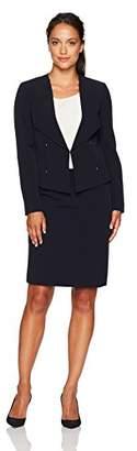 Tahari by Arthur S. Levine Women's Petite Size Crepe Skirt Suit with Gold Stud Trim