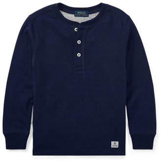 Ralph Lauren Duo-Fold Henley Knit Shirt, Blue, Size 5-7
