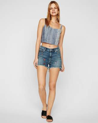 Express High Waisted Embroidered Denim Shorts