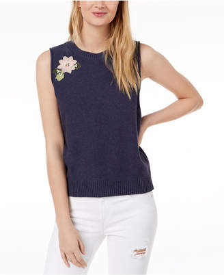 525 America Petite Cotton Blossom Floral-Applique Knit Sleeveless Top