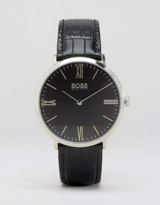 BOSS Slim Ultra Jackson Leather Watch In Black