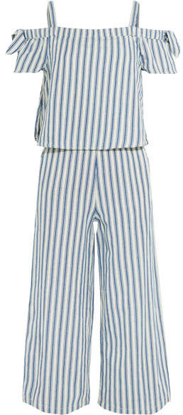Madewell - Cold-shoulder Cropped Striped Cotton And Linen-blend Jumpsuit - Blue