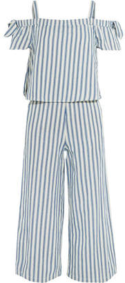 Madewell - Cold-shoulder Cropped Striped Cotton And Linen-blend Jumpsuit - Blue $130 thestylecure.com